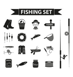 Fishing icon set black silhouette outline style vector