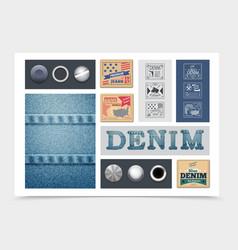 flat denim composition vector image
