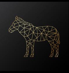 geometric zebra emblem golden polygonal zebra vector image