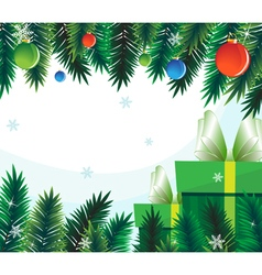 Gift boxes on the background of fir branches vector image