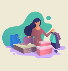 girl shopping with purchases online shopping vector image