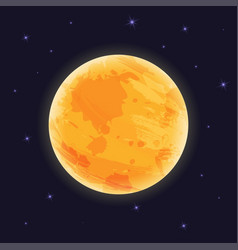 Graphic moon on night sky with starlight vector