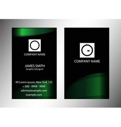 Green and black vertical business card vector