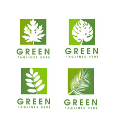 green leaf ecology nature element logo vector image