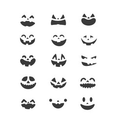 halloween pumpkin faces set clipart vector image