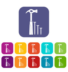 Hammer and nails icons set vector