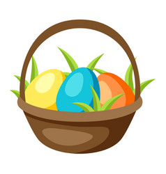 happy easter basket with eggs vector image