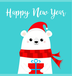 Happy new year polar white bear cub face holding vector