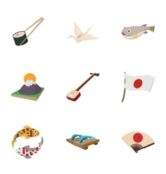 Holiday in Japan icons set cartoon style vector image