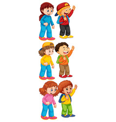 Isolated set boys and girl vector