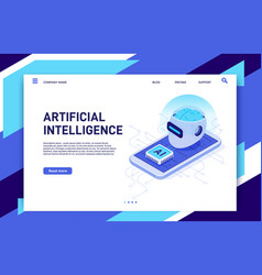 isometric mobile artificial intelligence ai vector image