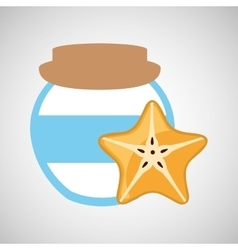 Jar cute blue with jam orange jam graphic vector