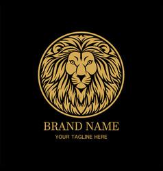 King lion head circle logo design vector