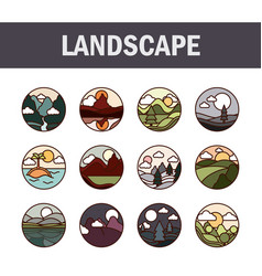 landscape nature mountains ocean and forest vector image
