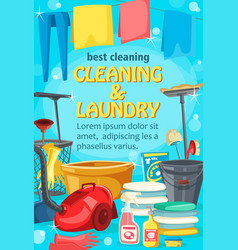Laundry and cleaning housekeeping tools vector