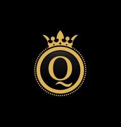 letter q royal crown luxury logo design vector image