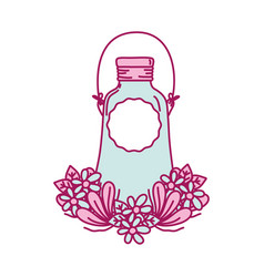 Mason glass with wire handle and flowers vector