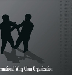 Men are engaged in the Kung fu Wing Chun vector image