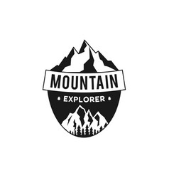Mountain explorer badge camping adventure emblem vector