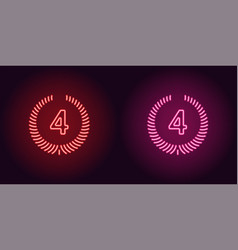 neon icon of red and pink fourth place vector image