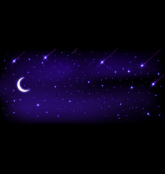 night sky is full stars and moon dark vector image