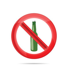 No alcohol sign with green beer bottle vector