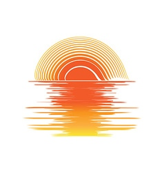 orange sunset and sea waves vector image