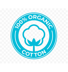 Organic cotton flower icon 100 natural vector