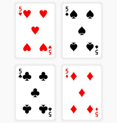 Playing Cards Showing Fives from Each Suit vector