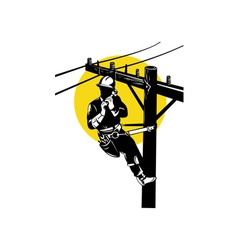 Power Lineman on Phone vector