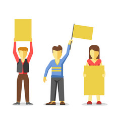 Protesting people holding empty yellow banners vector
