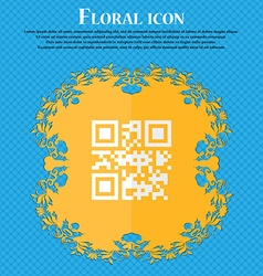 Qr code Floral flat design on a blue abstract vector image