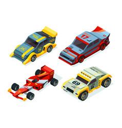 Race car set 3d racing cars isometric sport vector