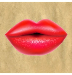 Red Lips With Retro Paper vector image