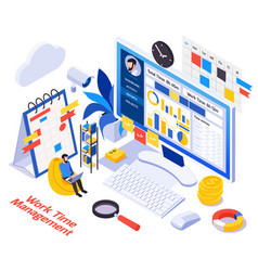 Remote work management isometric vector
