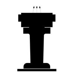 rostrum with three microphone the black color vector image