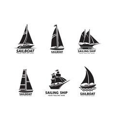 Sailboat logo design vector