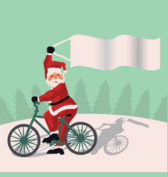 santa claus in his red suit riding a bike with vector image