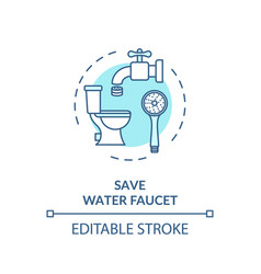 save water faucet turquoise concept icon vector image