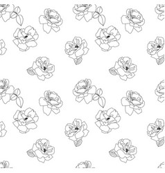 seamless black and white rose pattern flower vector image