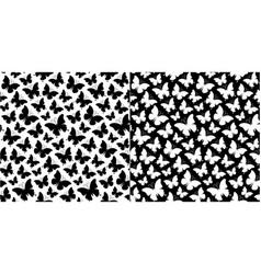 Seamless monochrome butterfly pattern vector