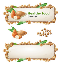 Set banners with almond and ground nuts vector