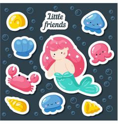 set cute creative stickers templates with vector image