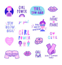 set cute feminist signs quotes girls etc vector image