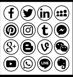 Set of popular social media logos web icon vector
