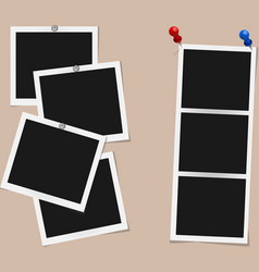 set of square photo frames on pins and rivets vector image