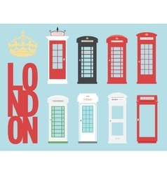 Set United Kingdom Telephones Box London public vector