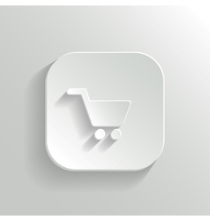 Shopping cart icon - white app button vector image