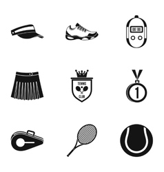 Sport with racket icons set simple style vector image