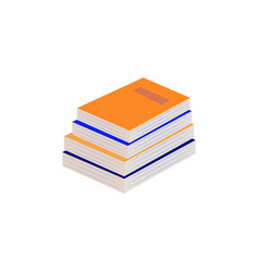 stack of paper books with hardcover lying on some vector image